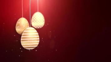 felices pascuas de pascua dorados colgantes de huevos de pascua animados con fondo rojo.