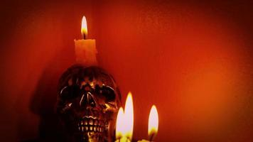 Skull With Candles In Warm Atmosphere video