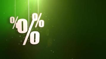 simboli di percentuale appesi alle corde una caduta dal soffitto dell'offerta di acquisto