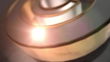 Icono de copyright de metal dorado y plateado 3d video