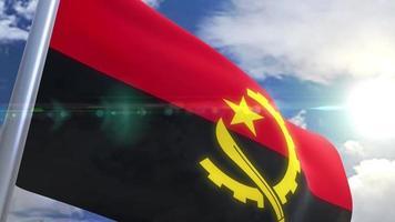 bandera ondeante de angola animación video