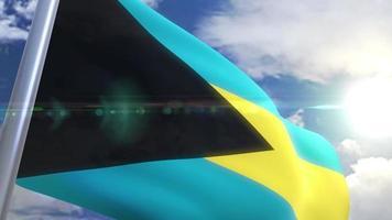 bandera ondeante de bahamas animación video