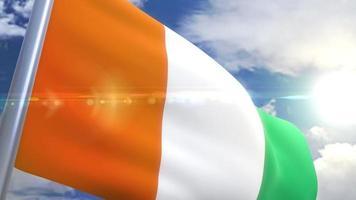 Ondeando la bandera de la animación de Costa de Marfil