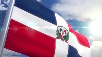 Ondeando la bandera de la animación de República Dominicana. video