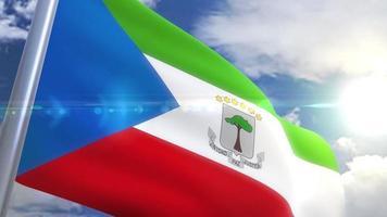 bandera ondeante de guinea ecuatorial animación video