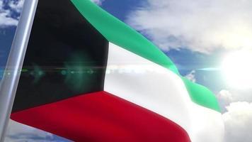 Ondeando la bandera de la animación de Kuwait video