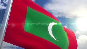 Ondeando la bandera de la animación de Maldivas video