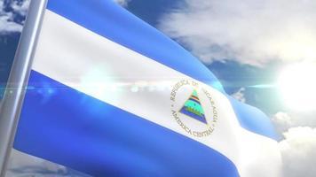 bandera ondeante de nicaragua animación video