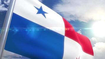 bandera que agita de la animación de panamá video
