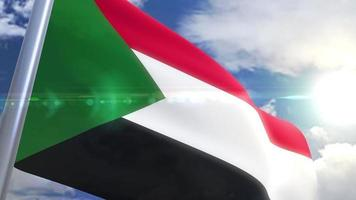 bandera ondeante de sudán animación video
