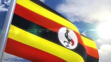 acenando a bandeira da uganda animação