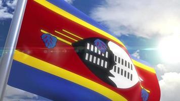 Ondeando la bandera de la animación de Swazilandia video
