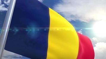 bandera ondeante de chad animación video