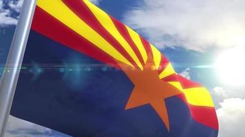 agitando bandeira do estado do arizona eua