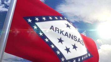Ondeando la bandera del estado de Arkansas, EE.