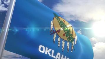 Ondeando la bandera del estado de Oklahoma, EE.