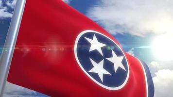 Ondeando la bandera del estado de Tennessee, EE.