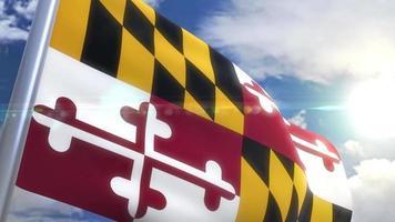 Ondeando la bandera del estado de Maryland, EE.