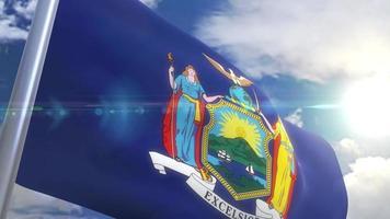 agitando bandeira do estado de nova york, eua