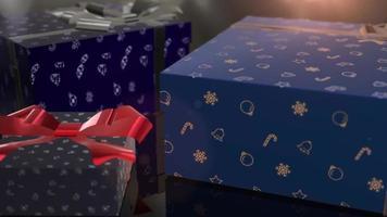 animation de cadeau bleu anniversaire de noël video