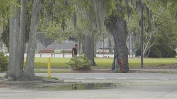 homem andando na calçada perto de um parque