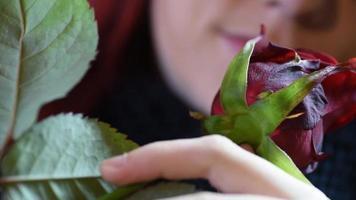 Valentinstag Geschenk. junges Mädchen, das auf einer roten Rose riecht video