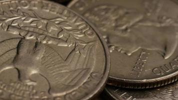girato stock footage rotante di quarti americani (moneta - $ 0,25) - denaro 0219