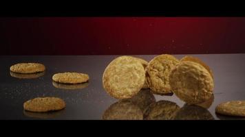 cayendo galletas desde arriba sobre una superficie reflectante - galletas 223