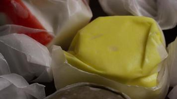 Rotating shot of salt water taffies - CANDY TAFFY 016 video