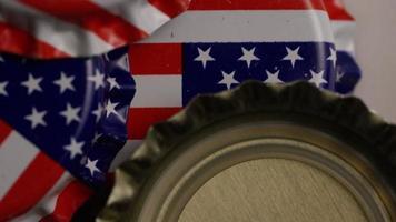 tomada rotativa de tampas de garrafa com a bandeira americana impressa nelas - tampas de garrafa 029