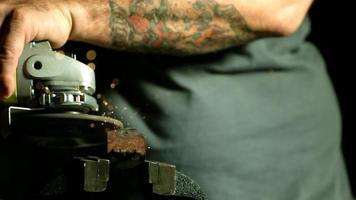 Sparks with angle grinder in ultra slow motion (1,500 fps) - ANGLE GRINDER PHANTOM 012 video