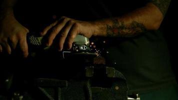 Sparks with angle grinder in ultra slow motion (1,500 fps) - ANGLE GRINDER PHANTOM 009 video