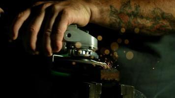 Sparks with angle grinder in ultra slow motion (1,500 fps) - ANGLE GRINDER PHANTOM 017 video