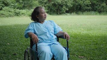 idosa solitária e com deficiência sentada sozinha em uma cadeira de rodas no parque