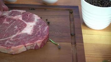 Close up of gourmet chef or cook seasoning fresh chunk of deli piece of beef with sea salt and grounded spicy peppers.