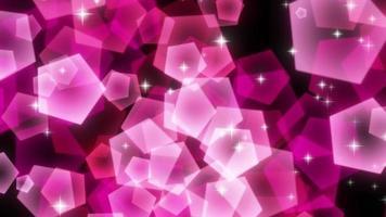 particelle pentagonali rosa scintillanti in aumento