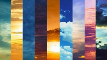 Multi time lapse sunset cloudy blue and yellow sky video