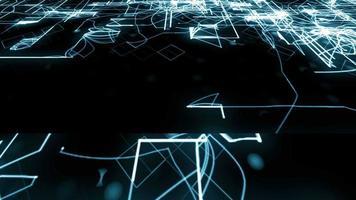 blauw elektrisch circuit raster groeit op zwarte monitor