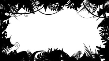 Schwarzweiss-Dschungellandschaftsschattenbild-Animationsschleife video