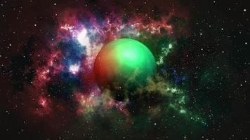 planeta verde na galáxia nebulosa no espaço estrela brilhante video