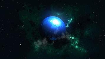 planeta brilhante azul na galáxia nebulosa no espaço estrela brilhante video