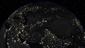 The Dark Side of the Earth with City Lights Visible