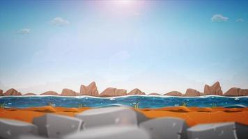 loop de fundo da paisagem do rio dos desenhos animados video