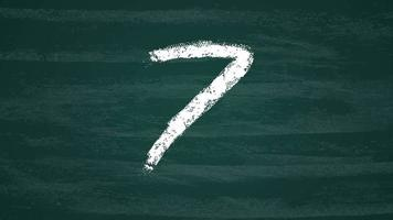 Hand drawn countdown on the dark green chalkboard. Countdown transition White paint chalk brush strokes. Animation hand painted brushstroke.