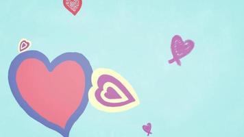 Tumbling Hearts Against Blue Background