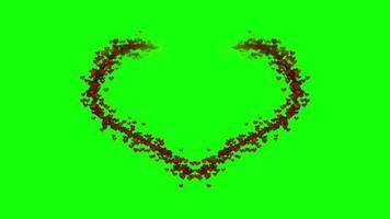 Corazón formado sobre fondo de pantalla verde