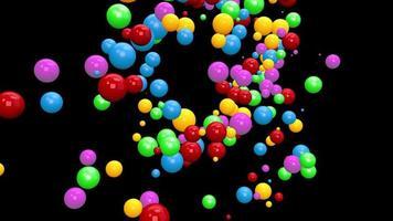 Animación de un montón de esferas coloridas abstractas.