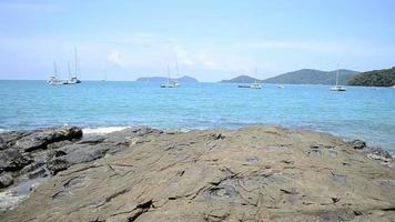 Scenery of Ao Yon Bay in Andaman sea with clear water and yachts