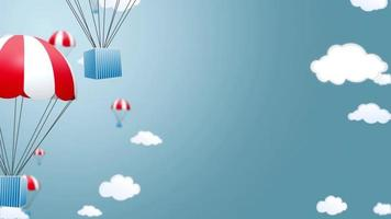 Blue boxes on white and red parachutes falling from the sky