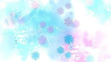 Colorful watercolor flowers splashing in a blue and pink background